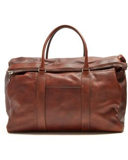 Top-handle Tarnished-leather Holdall