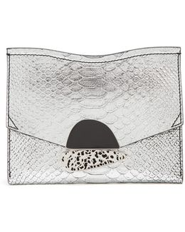 Curl Small Python-effect Leather Clutch