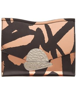 Curl Graffiti-print Leather Clutch