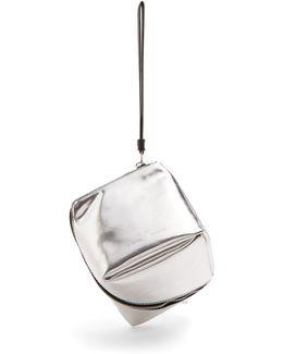 Cube Leather Wristlet Clutch
