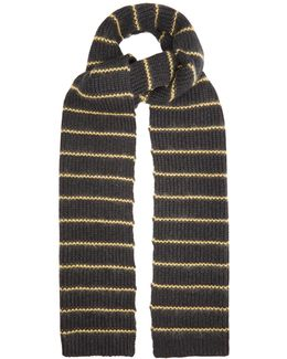 Embroidered-stripe Cashmere Scarf