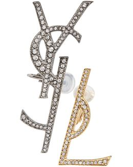 Set Of Two Embellished Monogram Clip-on Earrings
