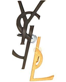 Set Of Two Monogram Clip-on Earrings