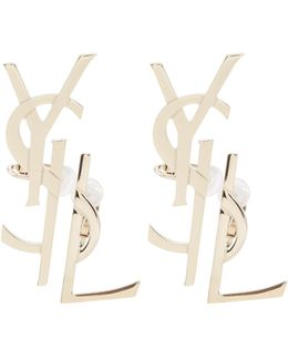 Set Of Two Deconstructed Monogram Clip-on Earrings