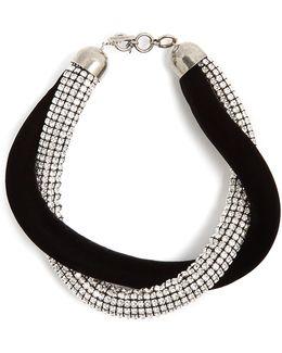 Twisted Crystal-embellished And Velvet Necklace