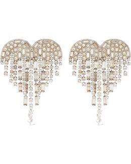 Shooting Heart Embellished Clip-on Earrings