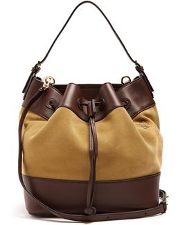 Midnight Smooth Leather-trimmed Suede Bucket Bag