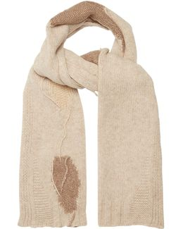 Distressed Intarsia-knit Wool-blend Scarf