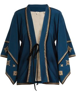 Cross-embroidered Silk-crepe Kimono
