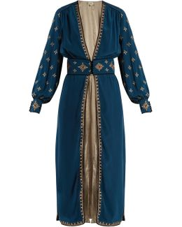Cross-embroidered Silk-crepe Robe