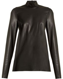 Vienna High-neck Faux-leather Top