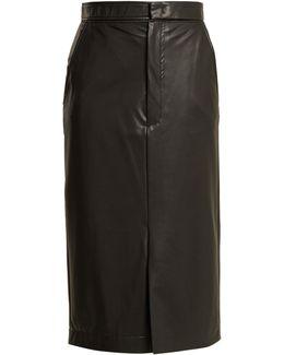 Keller Faux-leather Midi Pencil Skirt