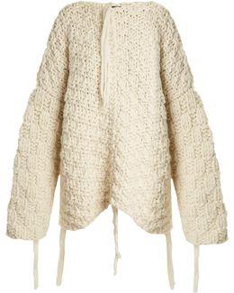 Osize Popcorn-knit Wool Sweater