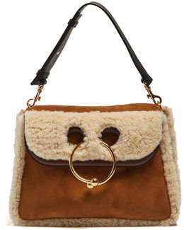 Pierce Medium Shearling Shoulder Bag