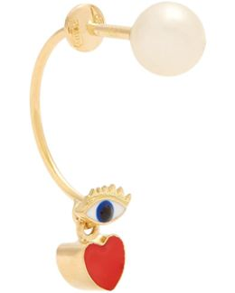 Pearl, Enamel & Yellow-gold Earring