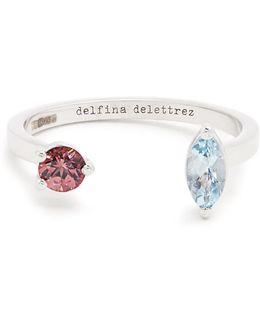 Aquamarine, Tourmaline & White-gold Ring