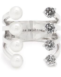 Diamond, Pearl & White-gold Ring