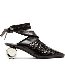 Cylinder-heel Crocodile-effect Leather Mules