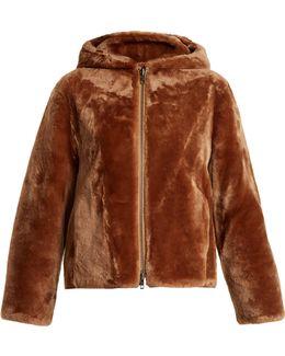 Zip-through Hooded Shearling Jacket