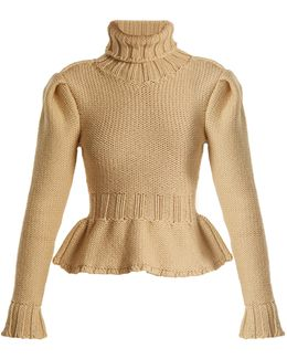 Roll-neck Chunky Wool-knit Sweater