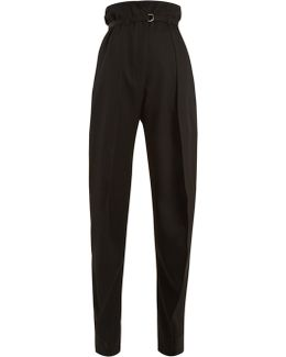 High-rise Tapered-leg Wool-twill Trousers