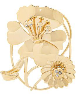 Crystal-embellished Daisy And Leaf Ear Cuff