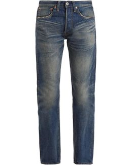 Straight-leg Washed Cotton-denim Jeans