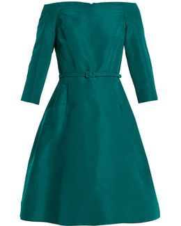 Off-the-shoulder Silk-faille Dress