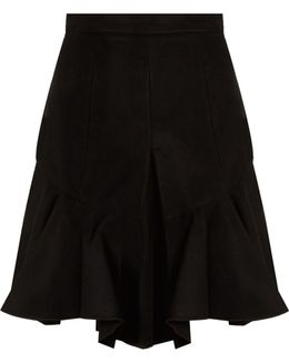 Parma Pleated Faux-suede Skirt