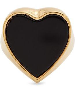 Stone-embellished Heart Signet Ring