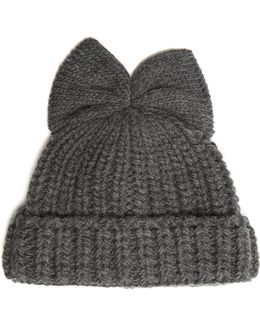 Bow-embellished Ribbed-knit Beanie Hat