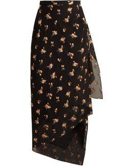 Petworth Chevron-embossed Floral Skirt