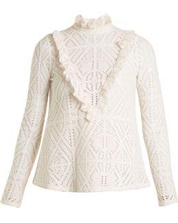 High-neck Crochet-effect Blouse