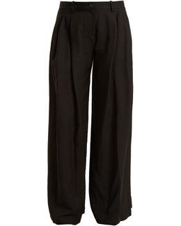 Inez Wide-leg Twill Trousers
