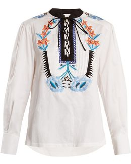 Peacock Embroidered Cotton Top