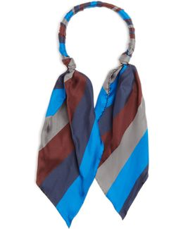 Blue Stripe Scarf-necklace