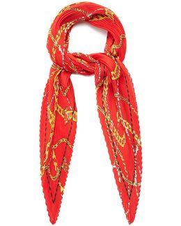 Chain Pleated Silk Scarf