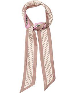 Cherry-blossom Print Skinny Silk Scarf
