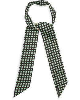 Grid-print Skinny Silk Scarf