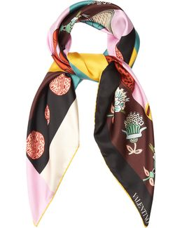Counting-print Silk Scarf