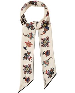 Floral-print Skinny Silk Scarf
