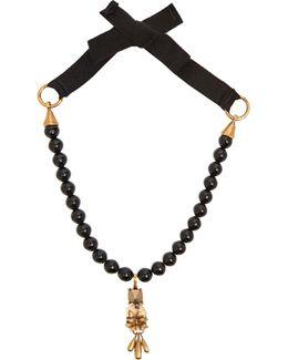 Floral Rockstud-pendant Beaded Necklace