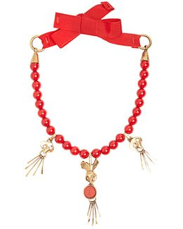 Skull-pendant Beaded Necklace