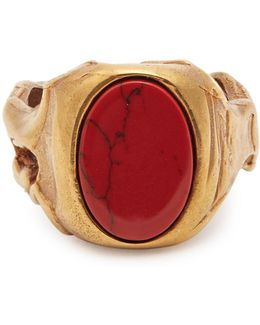 Stone-embellished Signet Ring