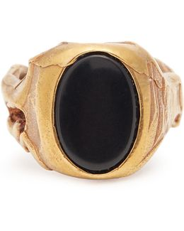 Stone-embellished Signet Ring