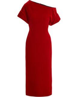 One-shoulder Stretch-velvet Midi Dress