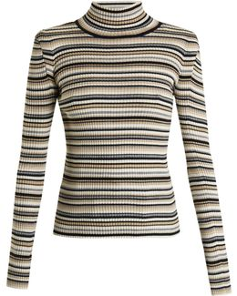 Roll-neck Striped Cotton-blend Knit Sweater
