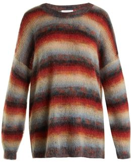 Oversized Striped Mohair-blend Knit Sweater