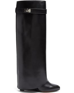 Shark Lock Leather Knee-high Boots
