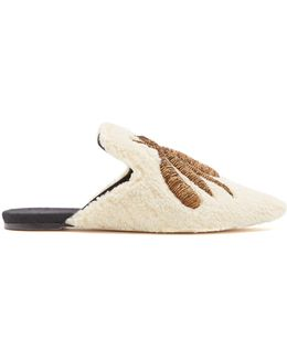 Ragno Embroidered Shearling Slipper Shoes
